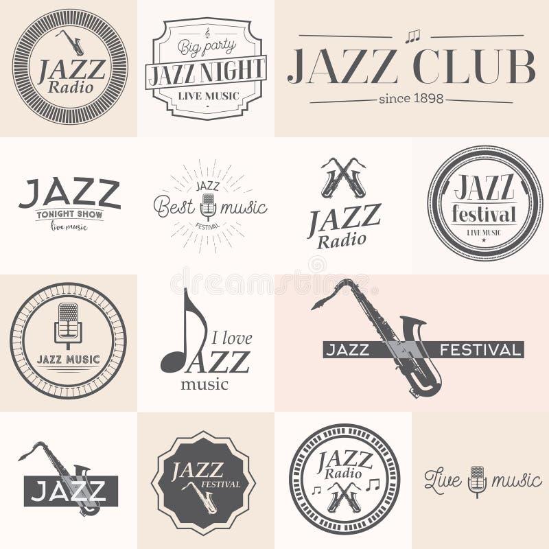 Etiketter för jazzmusik stock illustrationer