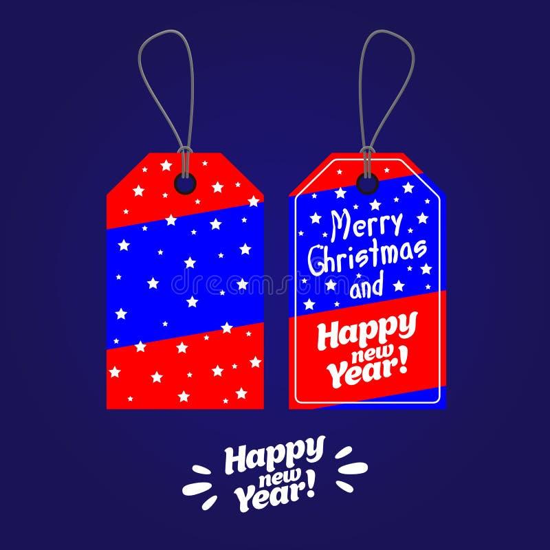 Etiketter för jul och etikettsvektor för nytt år ställde in, och etiketter för det nya året kryddar royaltyfri illustrationer
