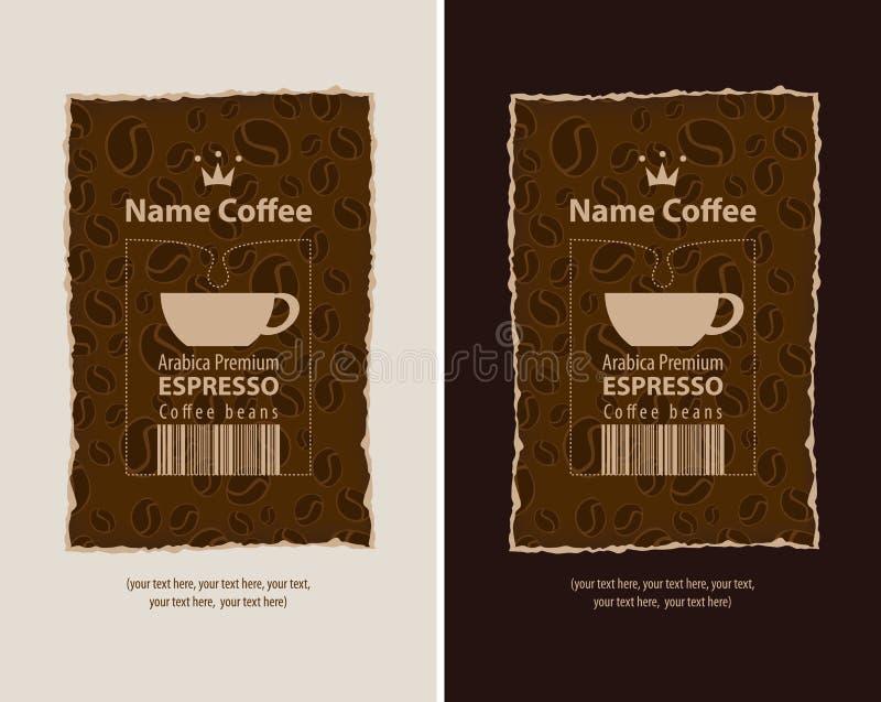 Etiketter för kaffebönor royaltyfri illustrationer