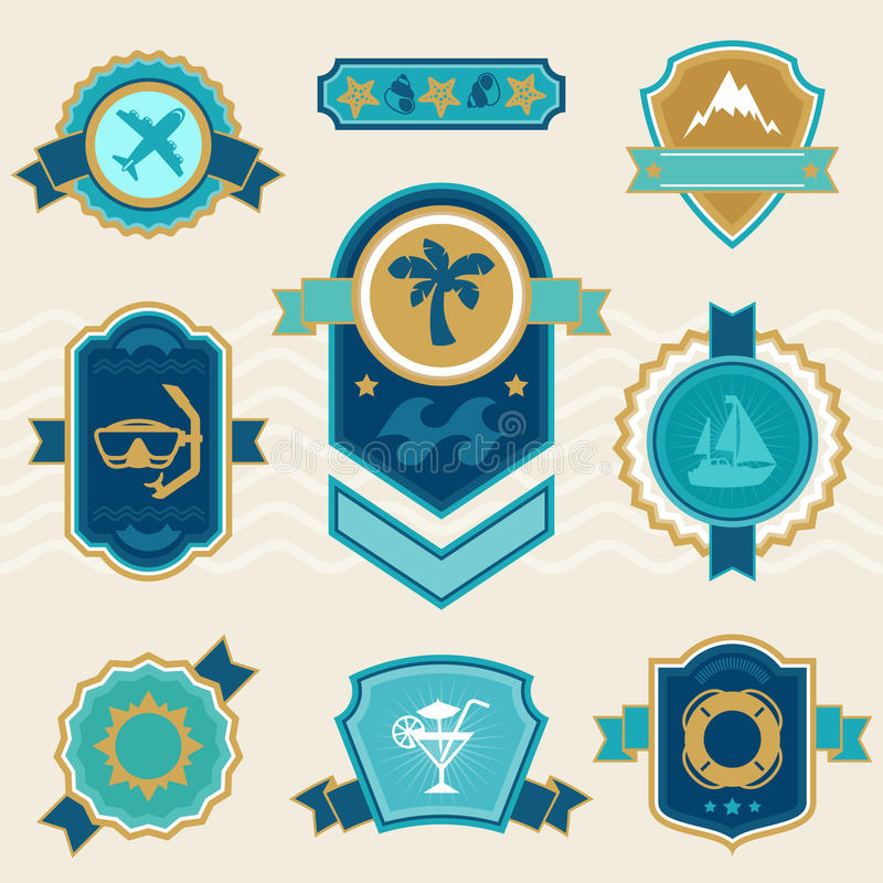 Etiketter för lopp- och turismemblemband royaltyfri illustrationer