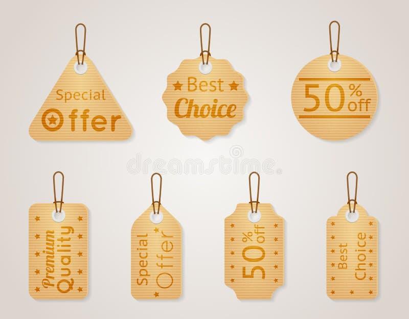Etiketter för pappvektorförsäljning, prislappuppsättning stock illustrationer