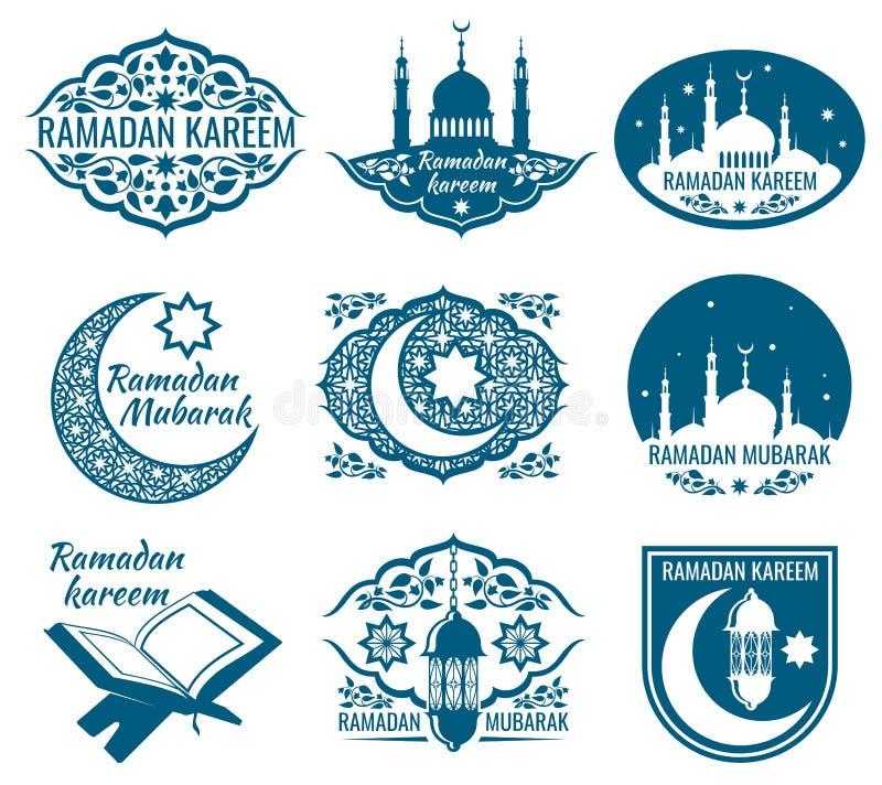 Etiketter för Ramadankareemvektor Tappningemblem med arabisk islamisk kalligrafi stock illustrationer
