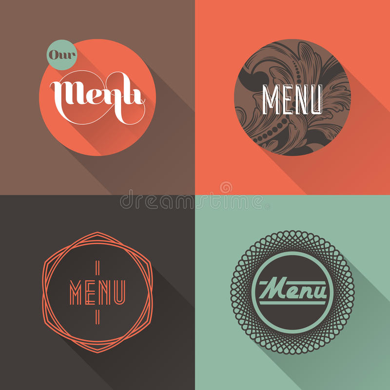 Etiketter för restaurangmenydesign. Vektorillustration royaltyfri illustrationer
