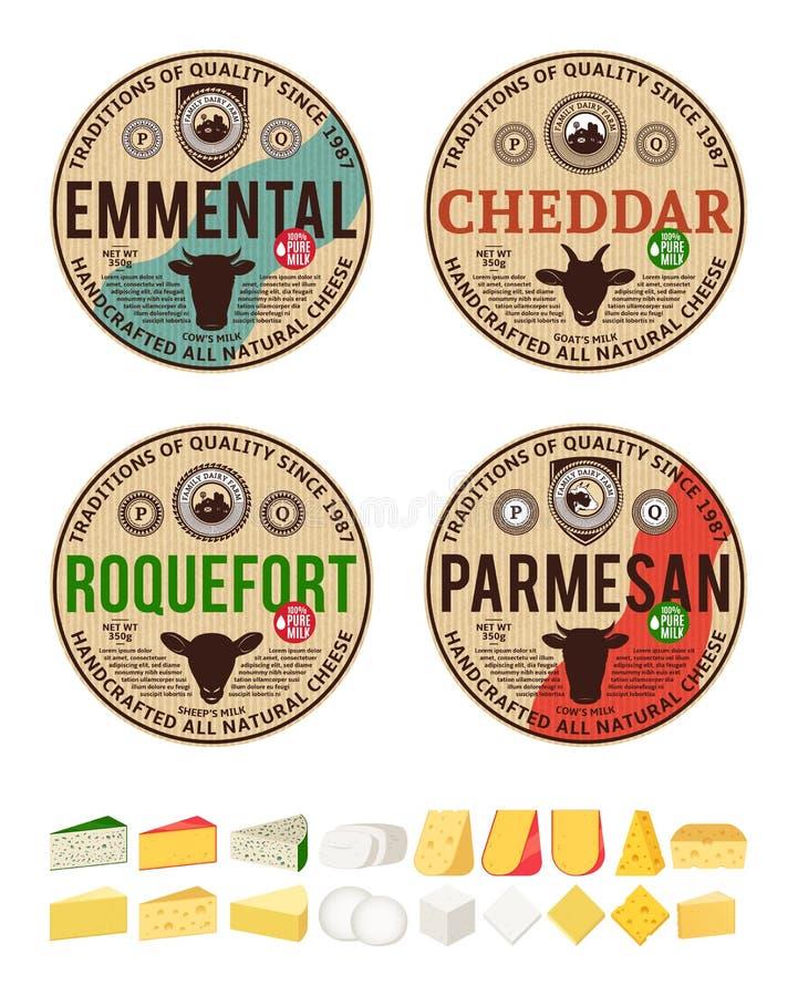 Etiketter för runda för vektortappningost och olika typer av detaljerade symboler för ost royaltyfri illustrationer