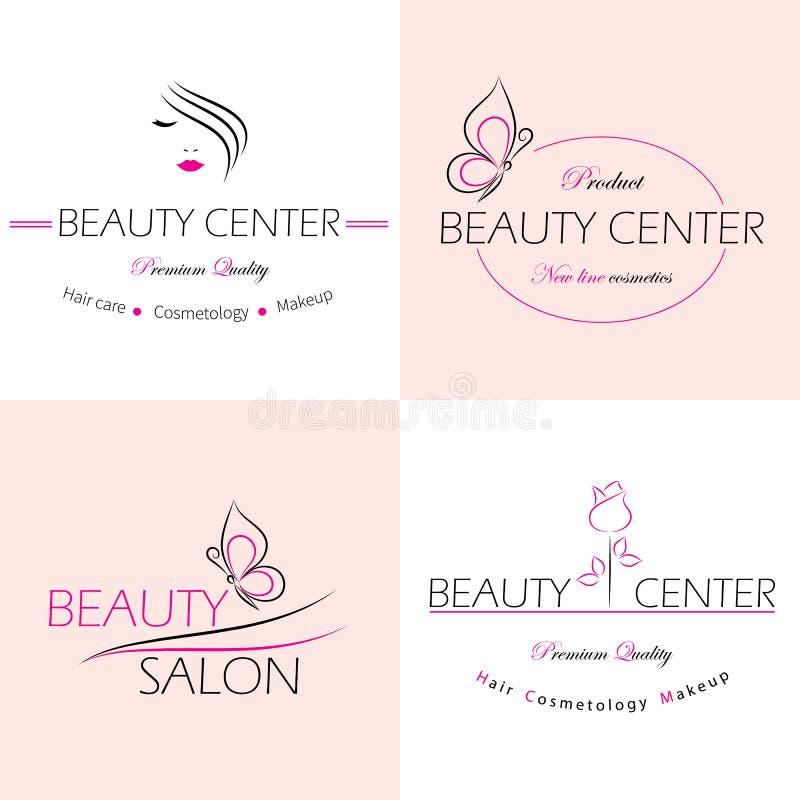 Etiketter för skönhetsalong royaltyfri illustrationer