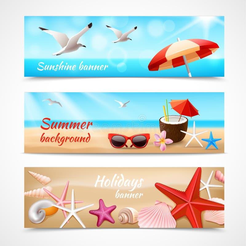 Etiketter för sommarferier stock illustrationer