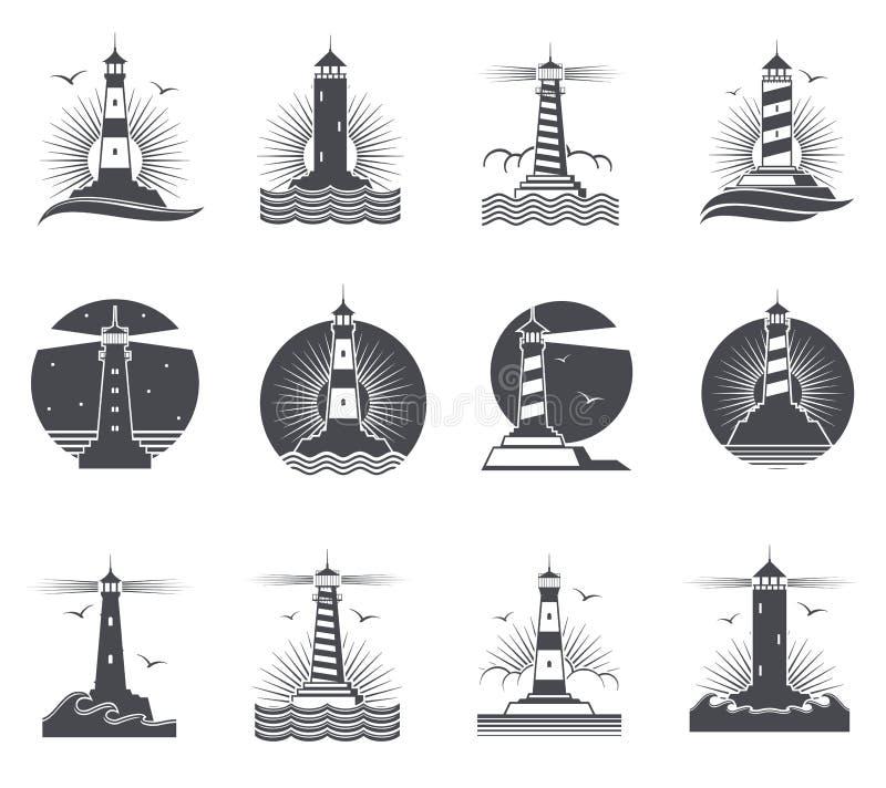 Etiketter för tappning för fyrvektor marin- Fyrar och retro nautiska logoer för havvågor ställde in royaltyfri illustrationer