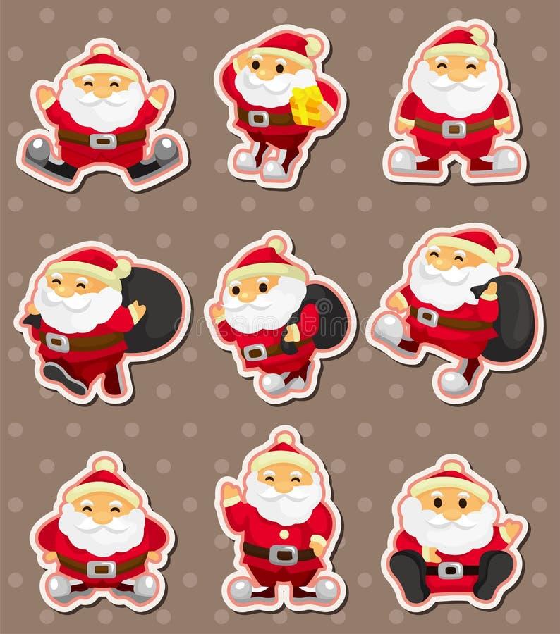 Etiketter för tecknad filmSanta Claus jul vektor illustrationer