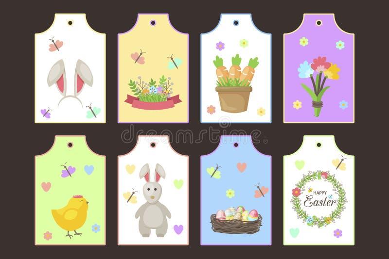 Etiketter för vektor för påskgåvaetiketter med gulliga tecknad filmtecken fjädrar hälsningar med kaninen, hönor, ägg och blommor vektor illustrationer