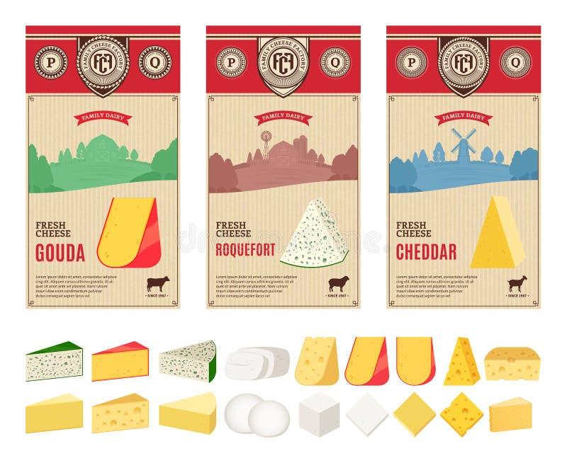 Etiketter för vektortappningost med lantbruklandskap och olika typer av detaljerade symboler för ost stock illustrationer