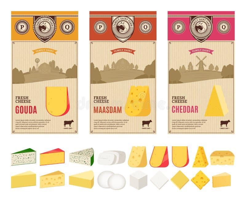 Etiketter för vektortappningost med lantbruklandskap och olika typer av detaljerade symboler för ost vektor illustrationer