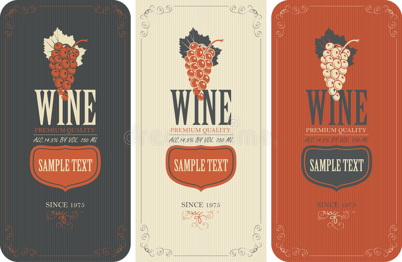 Etiketter för vin med druvor stock illustrationer