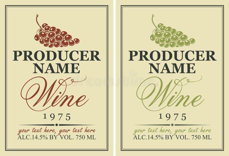 Etiketter för vin med druvor royaltyfri illustrationer