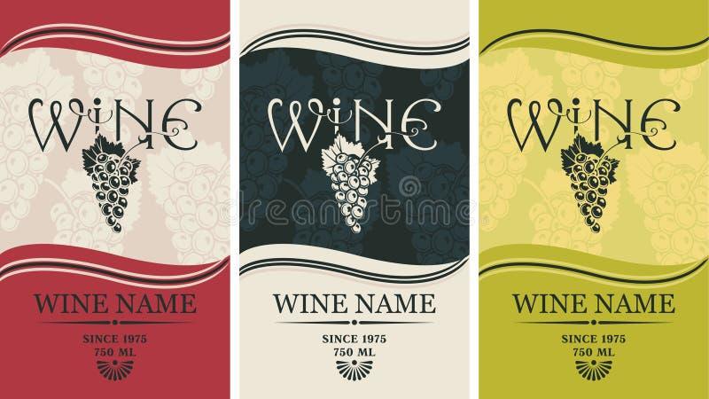 Etiketter för wine royaltyfri illustrationer