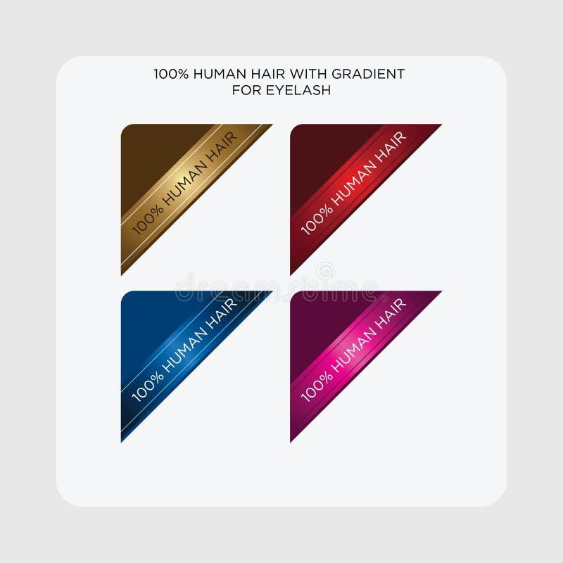 Etiketter märker 100% ögonfrans för mänskligt hår stock illustrationer