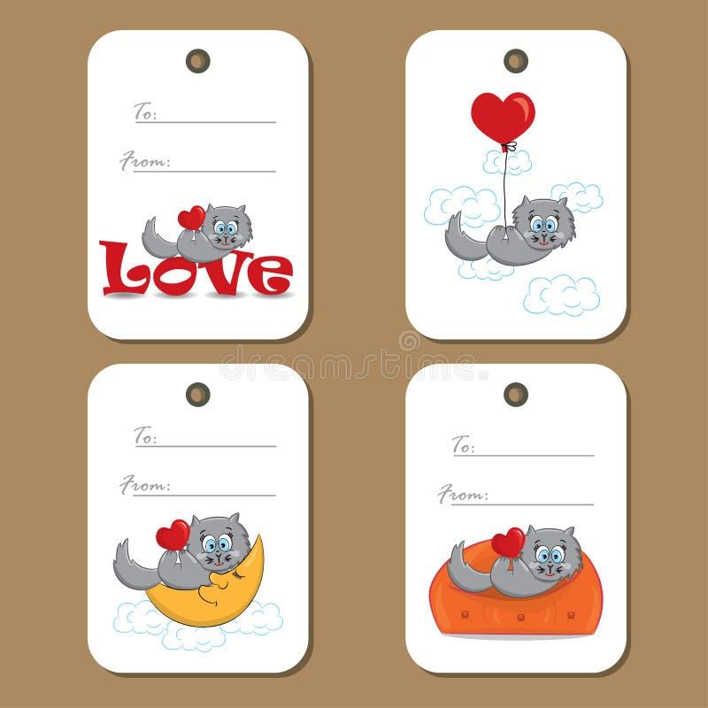 Etiketter med den förälskade gulliga katten stock illustrationer