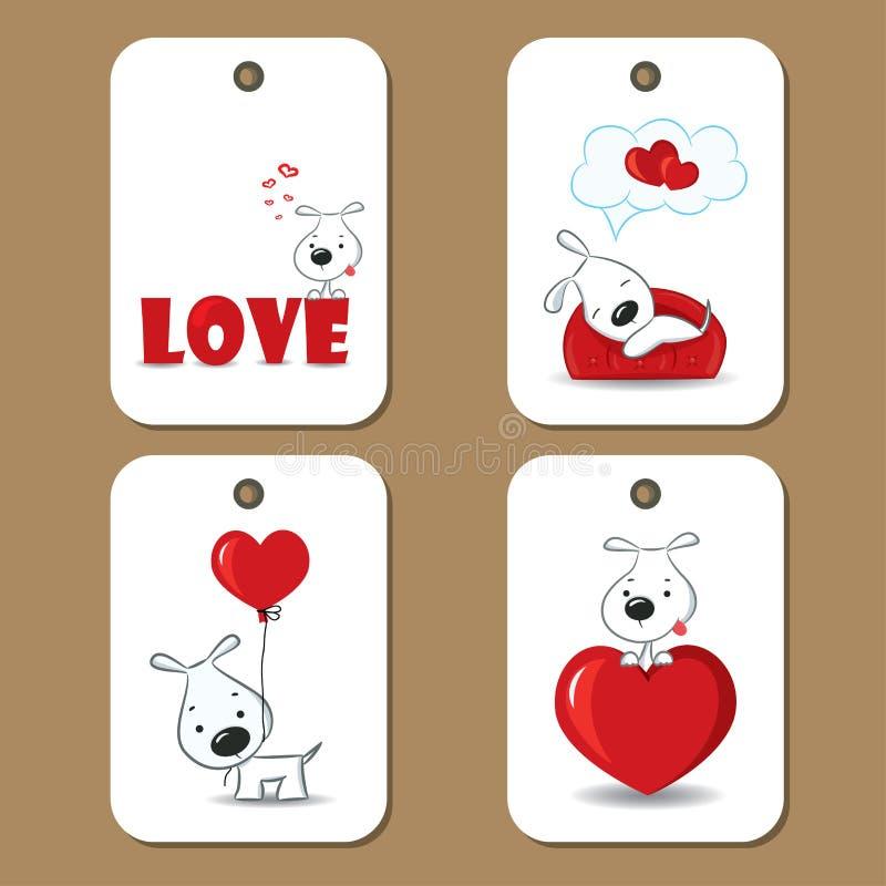 Etiketter med förälskad gullig hundkapplöpning vektor illustrationer