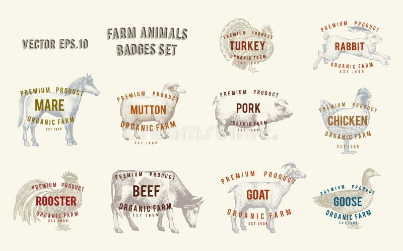 Etiketter med lantgårddjur Ställ in mallar som prislappar för shoppar och marknadsför av organisk mat Vektorillustrationkonst vektor illustrationer