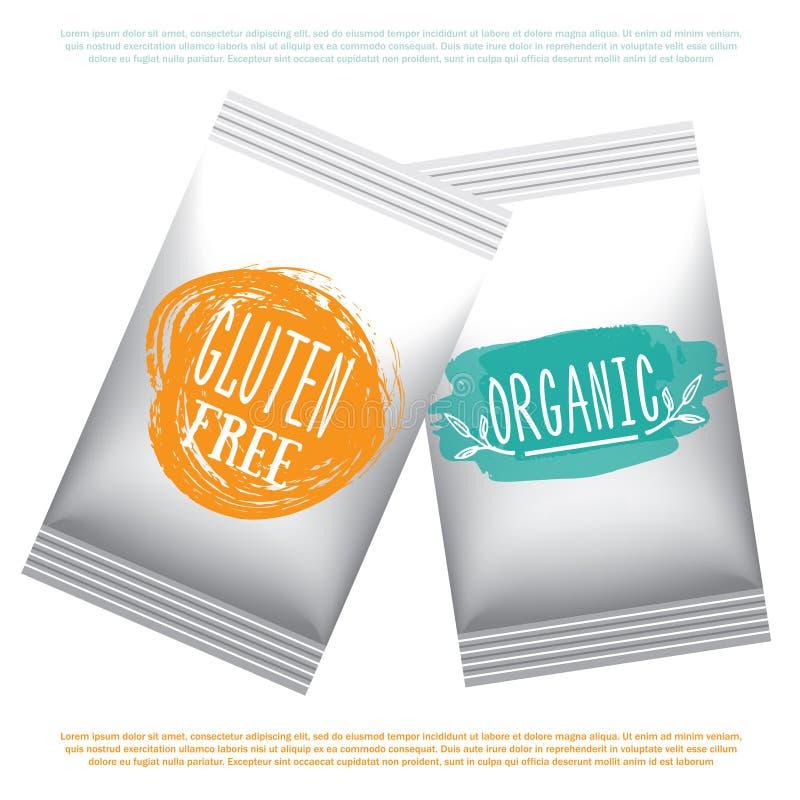 Etiketter med vegetarian och råkost bantar designer Mål och drink för organisk mat som förpackar för kafét, restauranger Illustre royaltyfri illustrationer
