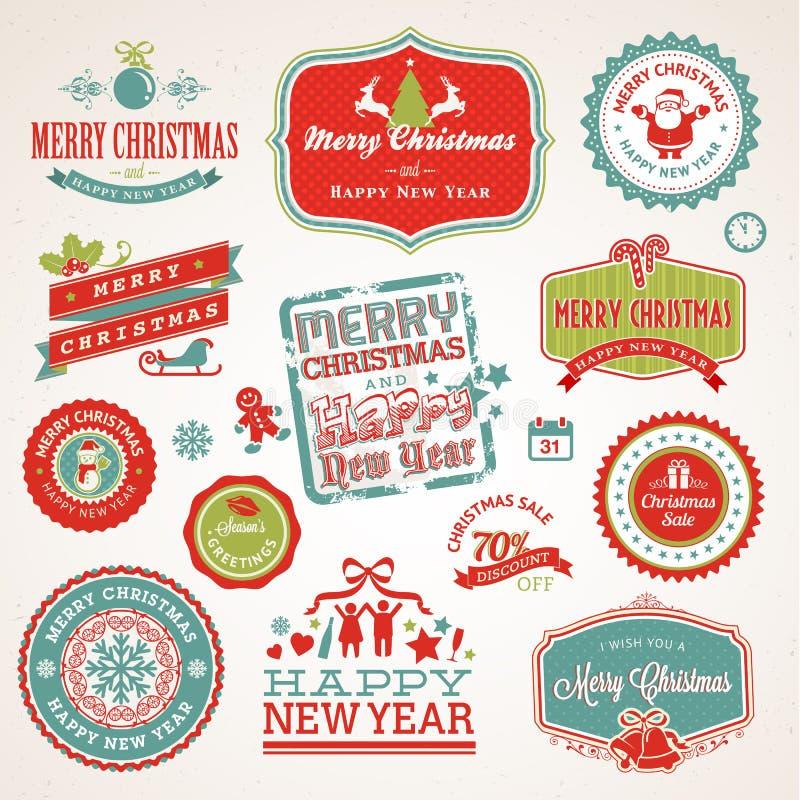 Etiketter och element för jul och nytt år vektor illustrationer