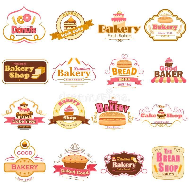 Etiketter och emblem för ny bageriprodukt stock illustrationer