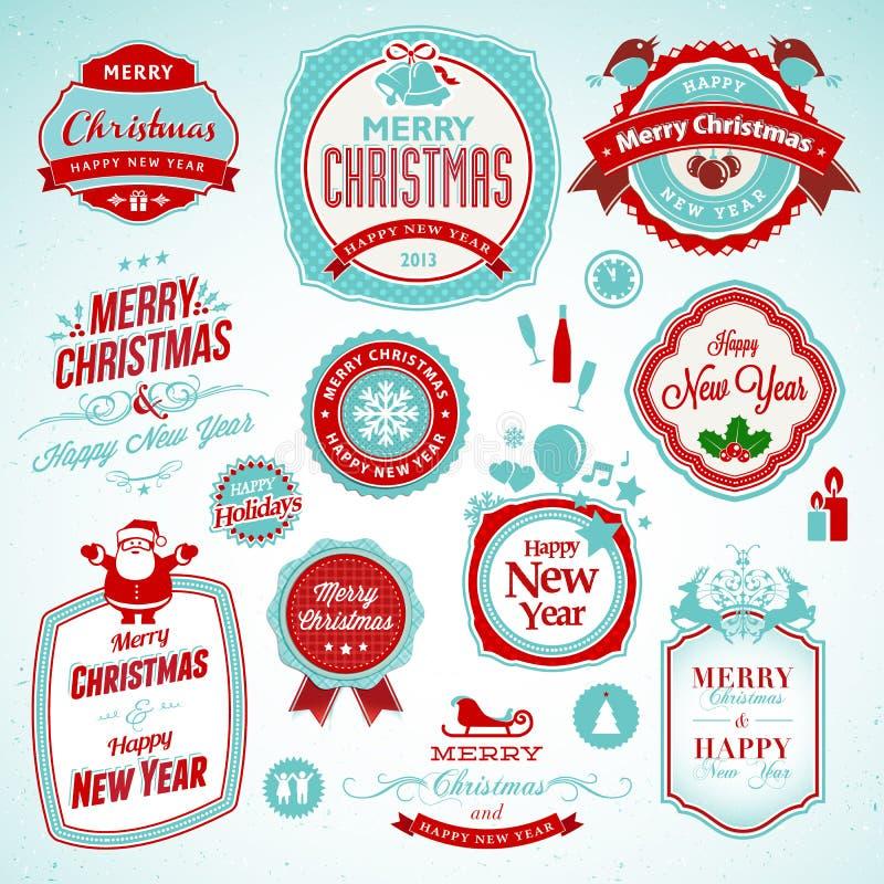 Etiketter och emblem för nytt år och jul vektor illustrationer