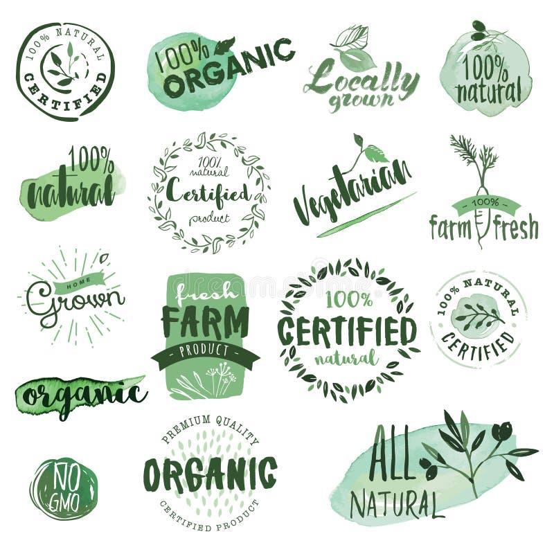 Etiketter och emblem för organisk mat royaltyfri illustrationer