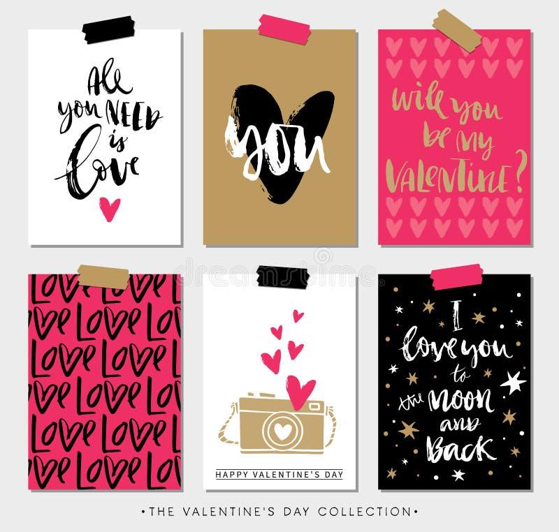 Etiketter och kort för valentindaggåva med kalligrafi stock illustrationer