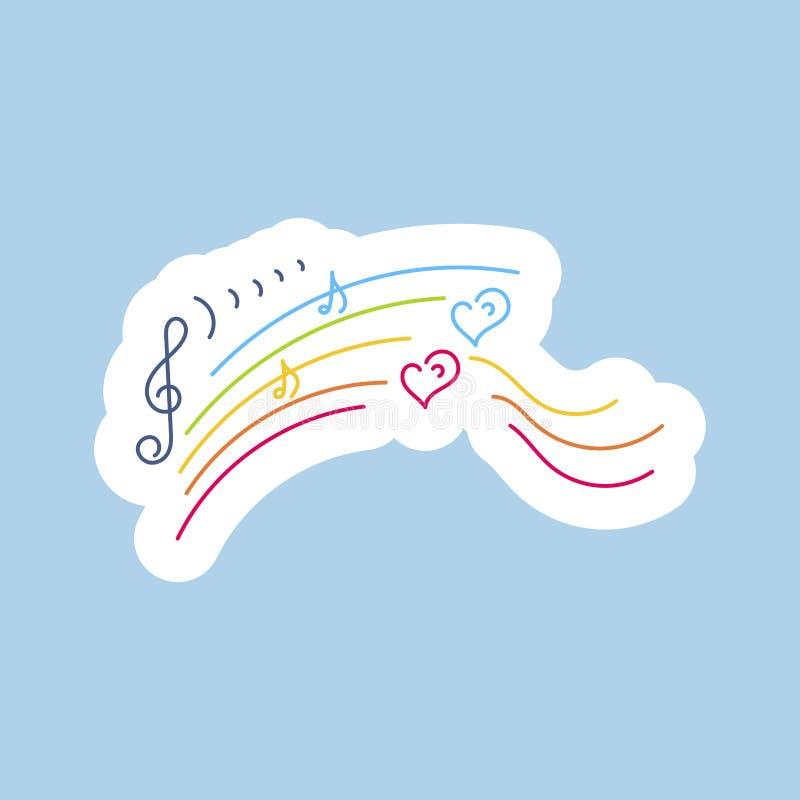 etiketter Regnbågen det musikaliska beteckningssystemet, hjärtor räcker dragit royaltyfri illustrationer
