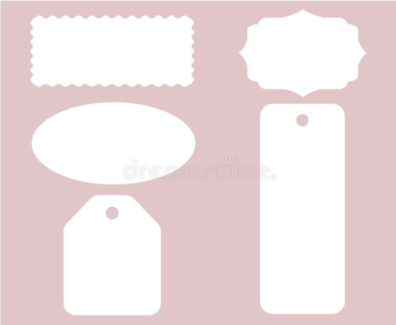 Etikettetikettshäftklammeren ställde in den vita vektorn isolerad stock illustrationer