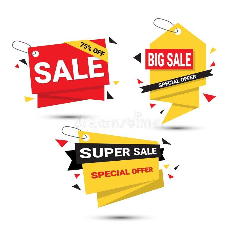 Etikettiert große Verkaufs-Fahnen eingestellte Sonderangebot-Schablone die Sammlung, die auf weißem Hintergrund lokalisiert wird stock abbildung