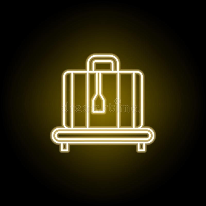 etikettierte Kofferikone in der Neonart Element der Reiseillustration Zeichen und Symbole k?nnen f?r Netz, Logo, mobiler App, UI  lizenzfreie abbildung