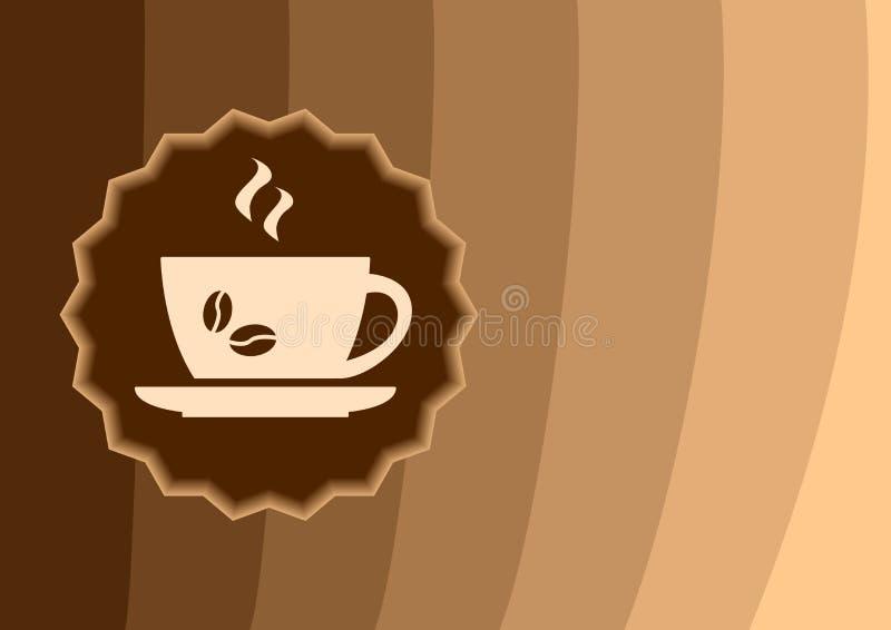 Etikettkopp kaffe på en brun bakgrund, vektor royaltyfri illustrationer