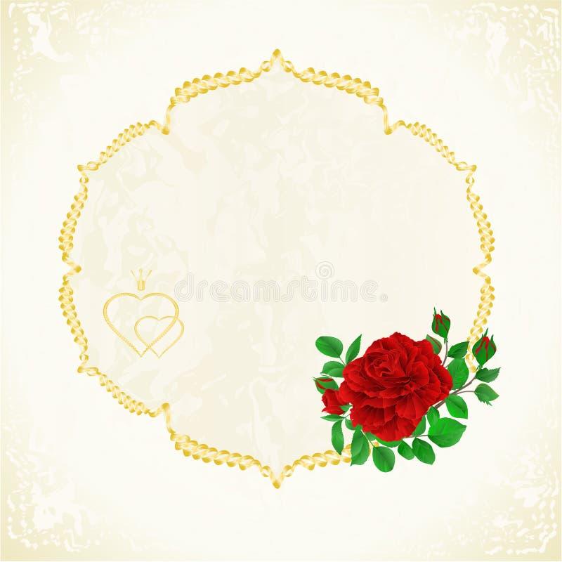 Etikettram med den röda den redigerbara rosen och för bakgrundstappning för knoppar blom- festliga illustrationen för vektor vektor illustrationer