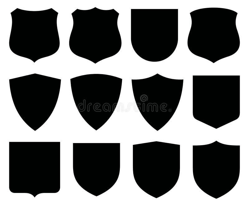 etikettsköldvektor royaltyfri illustrationer