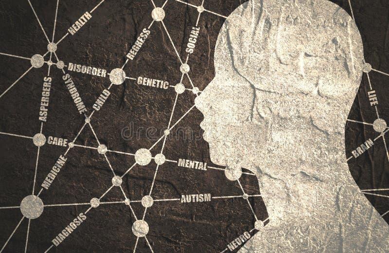 Etikettsmoln Autismsläktingbroschyr royaltyfri illustrationer