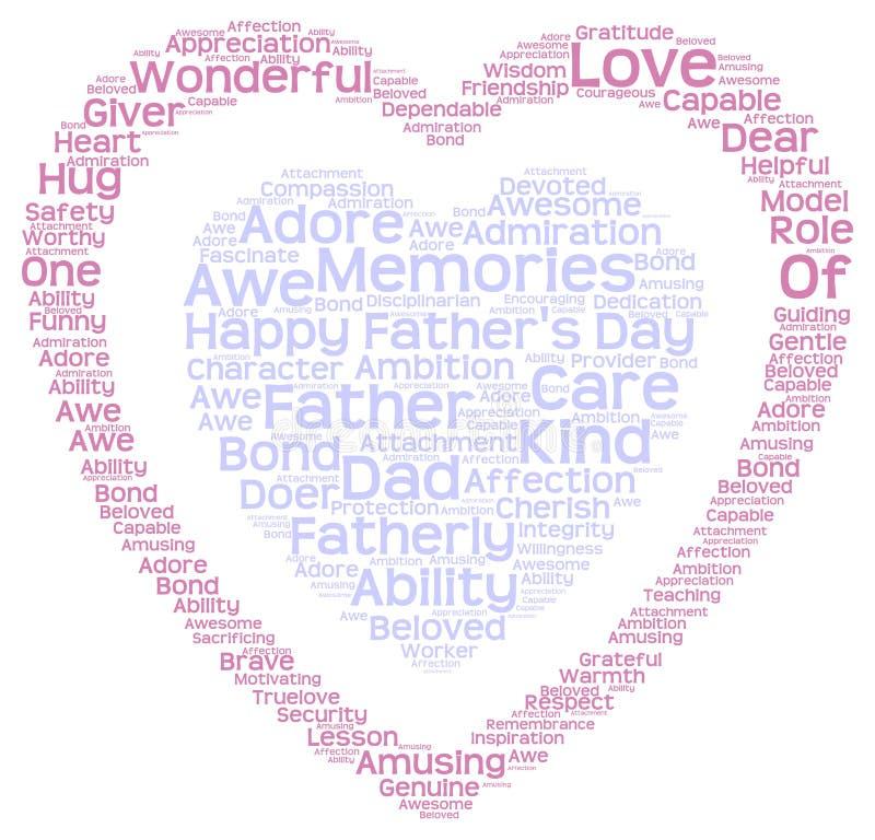 Etikettsmoln av faders dag i dubbel hjärtaform arkivfoto