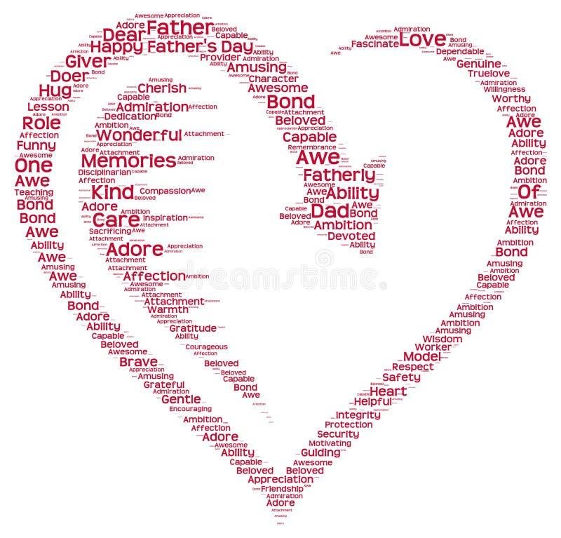 Etikettsmoln av faders dag i en hjärtaform royaltyfria foton