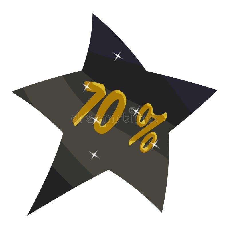 Etikettsstjärna sjuttio procent rabattsymbol vektor illustrationer