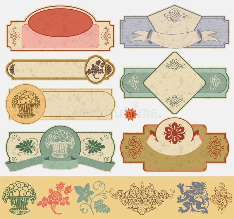 etikettstiltappning stock illustrationer