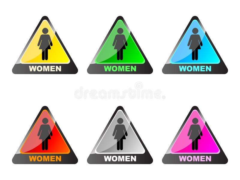 etiketttoalettkvinnor vektor illustrationer