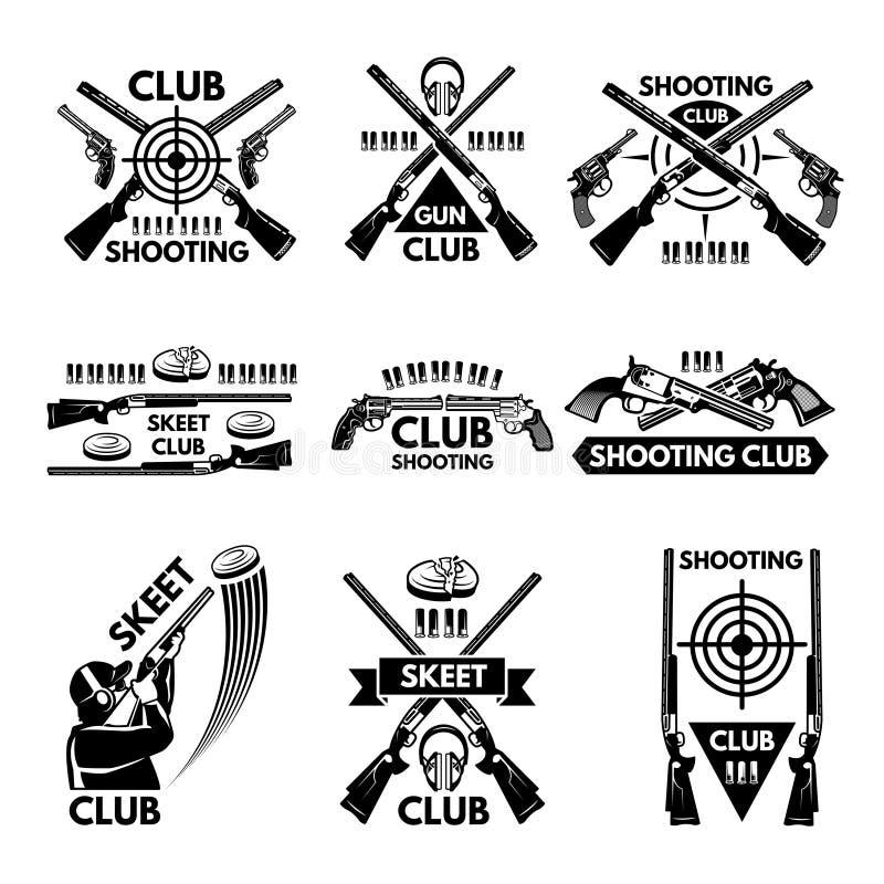 Etikettuppsättning för att skjuta klubban Illustrationer av vapen, kulor, lera och vapen royaltyfri illustrationer