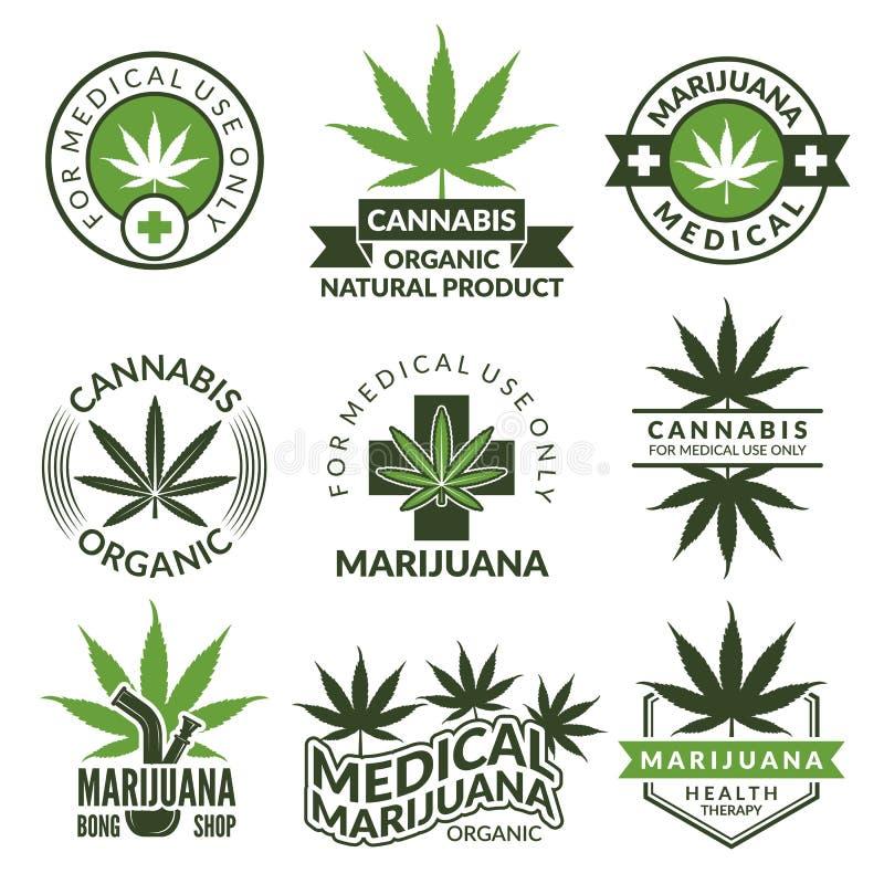 Etikettuppsättning med olika bilder av marijuanaväxter Medicinska örter, cannabisblad royaltyfri illustrationer