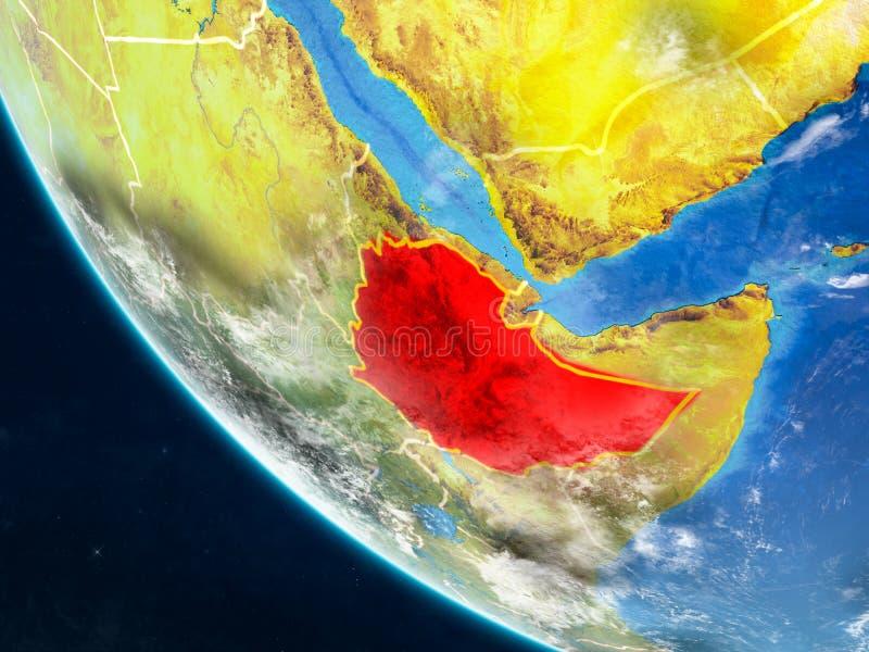 Etiopía del espacio en la tierra ilustración del vector