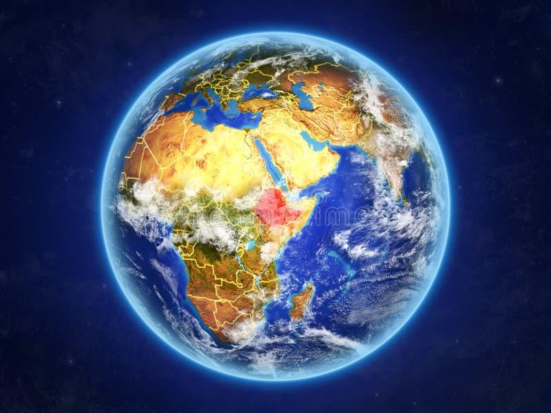 Etiopía en la tierra del espacio ilustración del vector