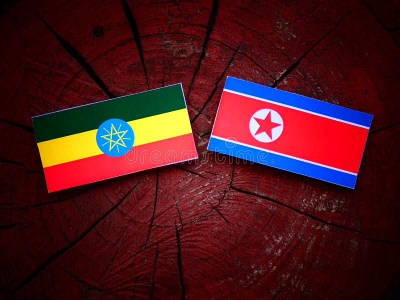 Etiopczyk flaga z koreańczyk z korei północnej flaga na drzewnym fiszorku obrazy stock