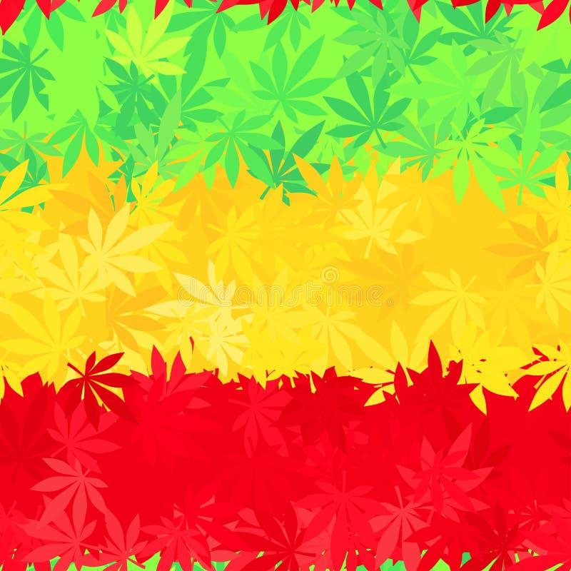 Etiopia chorągwiany bezszwowy wzór Jamajka reggae ilustracji