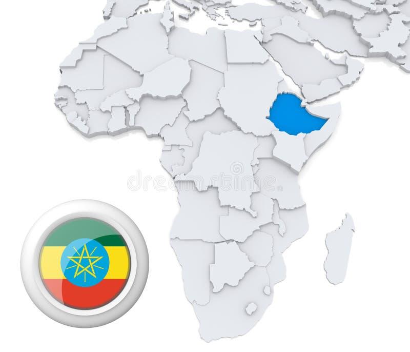 Etiopia na Afryka mapie ilustracja wektor