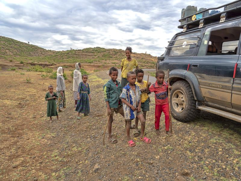 ETIOPIE, APRIL 22th.2019, Ethiopian children, often standing by the road and thinking about sweets  ,April 22th. 2019, , Etiopia. Ethiopian children, often royalty free stock photo