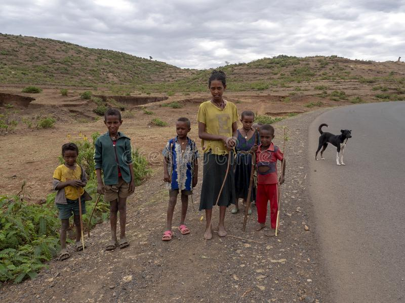 ETIOPIE, APRIL 22th.2019, Ethiopian children, often standing by the road and thinking about sweets  ,April 22th. 2019, , Etiopia. Ethiopian children, often stock images